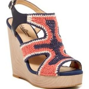 Lucky Brand Coral & Navy Crochet Wedges